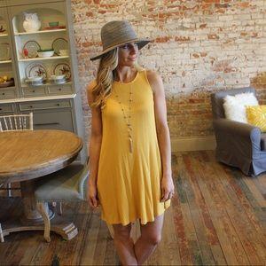 Yellow waffle knit tank dress